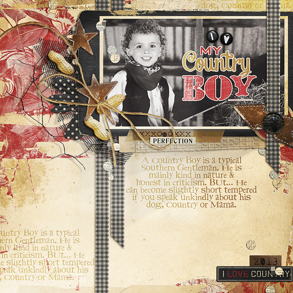 """My Country Boy"" layout by Brandy Murry"