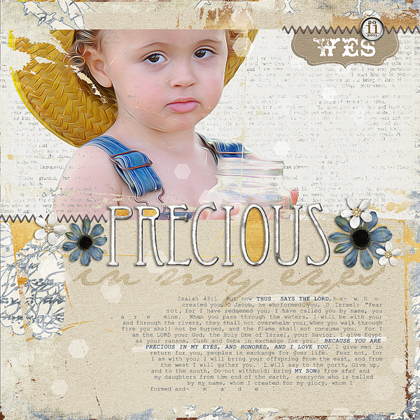 Precious in My Eyes by Brandy Murry. See below for links to all products used in this digital scrapbooking layout.