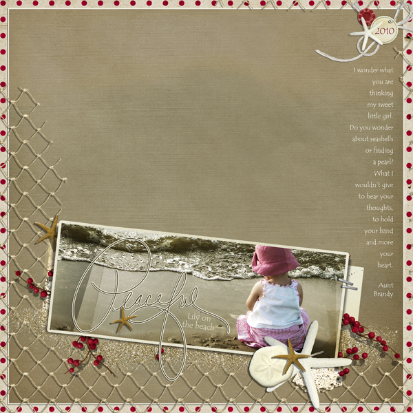 Peaceful layout by Brandy Murry. See below for links to all products used in this digital scrapbooking layout.