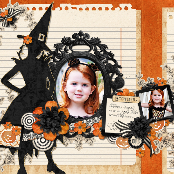 Bootiful Addison layout by Brandy Murry. See below for links to all products used in this digital scrapbooking layout.