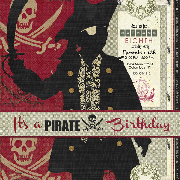 Pirate Birthday Card-Left layout by Brandy Murry. See below for links to all products used in this digital scrapbooking layout.