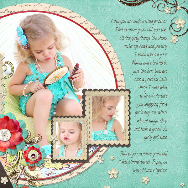 Our Little Princess layout by Brandy Murry. See below for links to all products used in this digital scrapbooking layout.