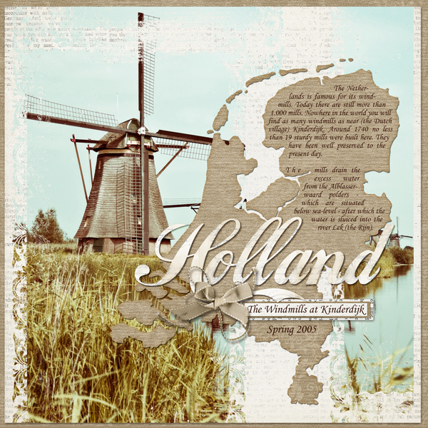 <p>Windmills at Kinderdijk layout by Brandy Murry. See below for links to all products used in this digital scrapbooking layout.</p>