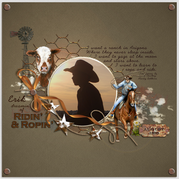"""""""Ridin' & Ropin'"""" layout by Elisha Barnett. See below for description and links to all products used in this digital scrapbooking layout."""