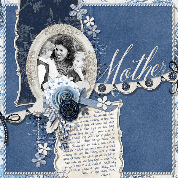 """Good Mother"" layout by Brandy Murry. See below for links to all products used in this digital scrapbooking layout."