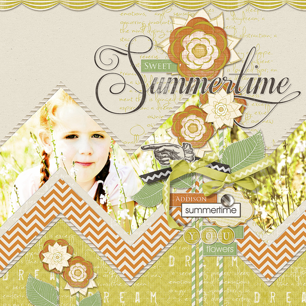 �Sweet Summertime� layout by Brandy Murry. See below for links to all products used in this digital scrapbooking layout.