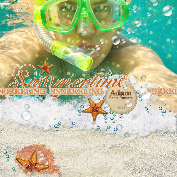 �Snorkeling� layout by Brandy Murry. See below for links to all products used in this digital scrapbooking layout.