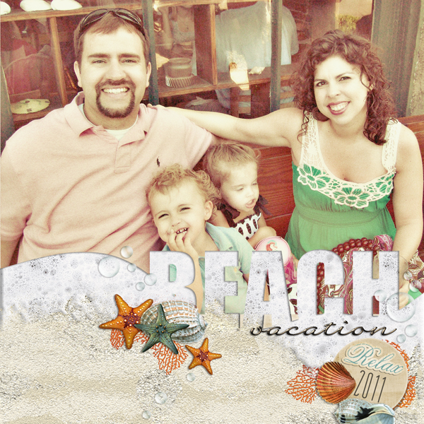 �Beach Vacation� layout by Brandy Murry. See below for links to all products used in this digital scrapbooking layout.
