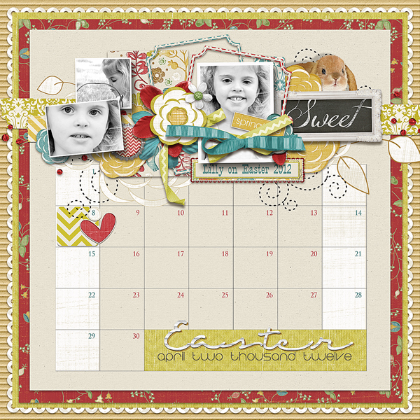 Lilly on Easter layout by Brandy Murry. See below for links to all products used in this digital scrapbooking layout.