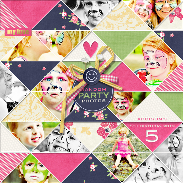 """Random Party Photos"" digital scrapbooking layout by Brandy Murry"
