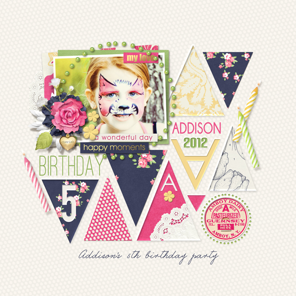"""Addison's Birthday"" digital scrapbooking layout by Brandy Murry"