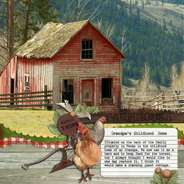 Farm House layout by Brandy Murry. See below for links to all products used in this digital scrapbooking layout.