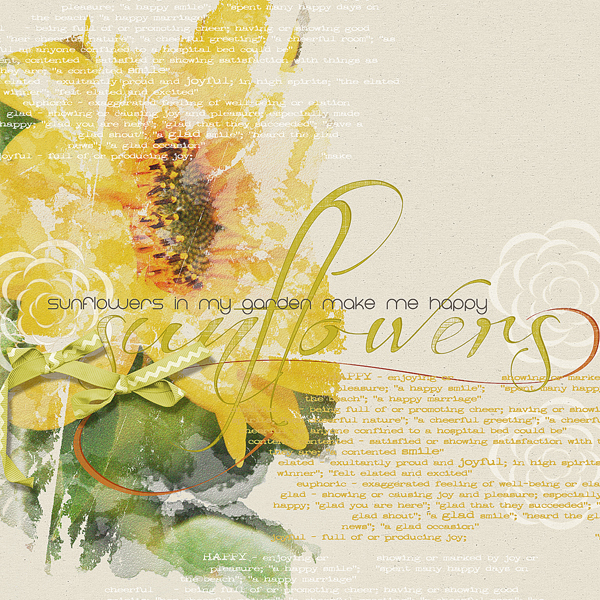 Sunflowers layout by Brandy Murry. See below for links to all products used in this digital scrapbooking layout.