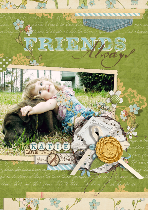 """Friends Always"" digital scrapbooking layout by Brandy Murry."