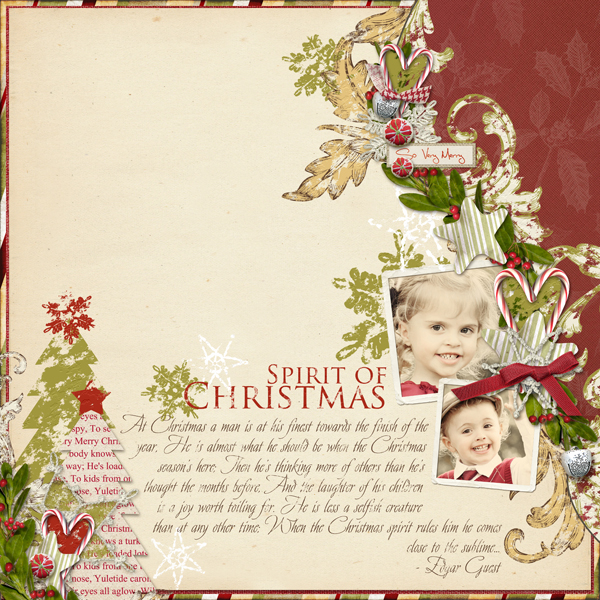 Spirit of Christmas layout by Brandy Murry. See below for links to all products used in this digital scrapbooking layout.