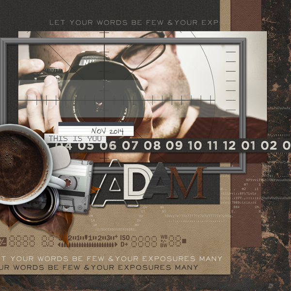 """Adam"" digital scrapbooking photography layout by Brandy Murry"