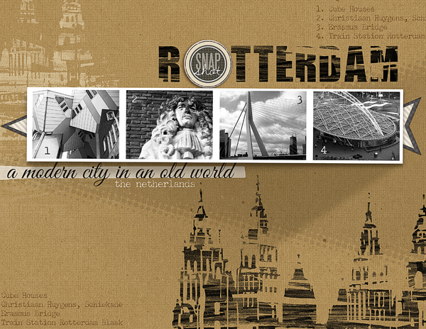 """""""Rotterdam"""" digital scrapbooking layout by Brandy Murry. See below for links to all products used in this digital scrapbooking layout."""