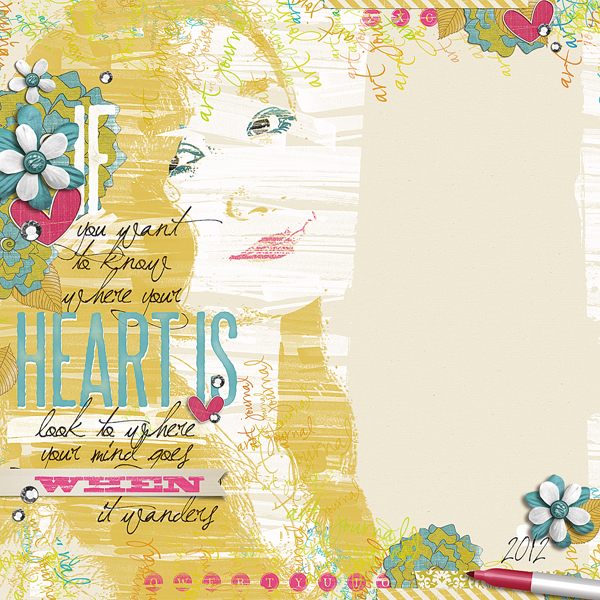 """""""Heart"""" digital scrapbooking layout by Brandy Murry. See below for links to all products used in this digital scrapbooking layout."""