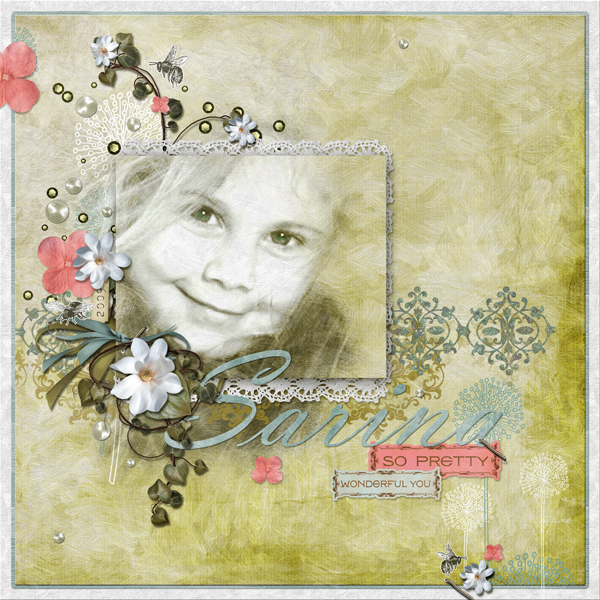 """""""Sarina layout by Brandy Murry. See below for description and links to all products used in this digital scrapbooking layout."""