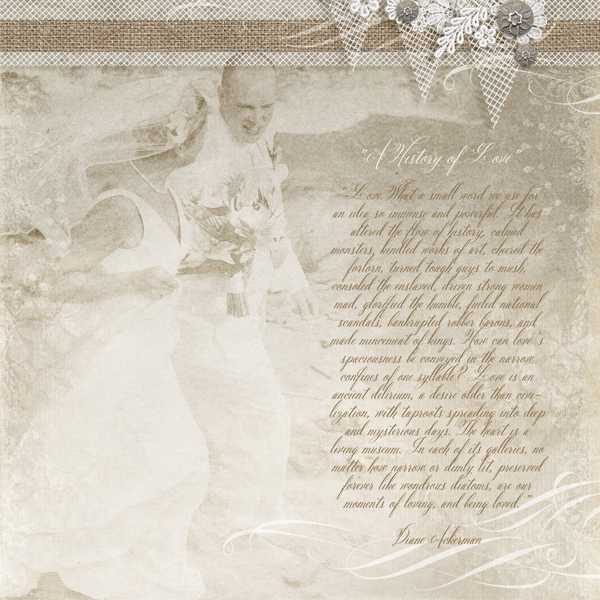 """A History of Love"" digital scrapbooking beach wedding layout by Brandy Murry"