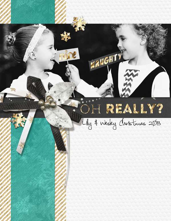 Naughty & Nice digital scrapbooking layout by Brandy Murry