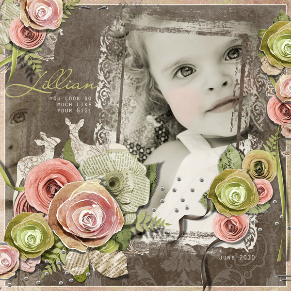 Lillian layout by Brandy Murry. See below for description and links to all products used in this digital scrapbooking layout.