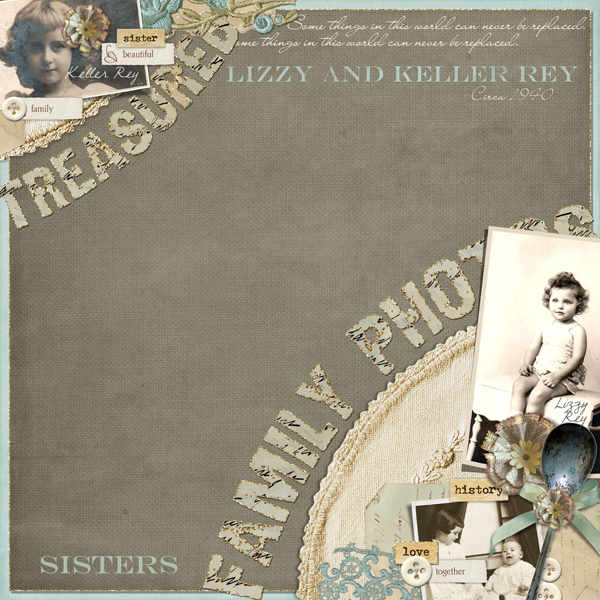 Treasured Family Photos layout by Brandy Murry. See below for description and links to all products used in this digital scrapbooking layout.