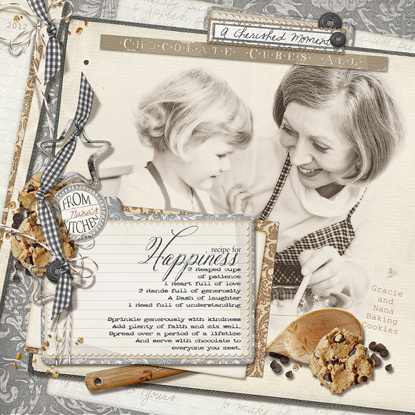 �Recipe for Happiness� layout by Brandy Murry. See below for links to all products used in this digital scrapbooking layout.