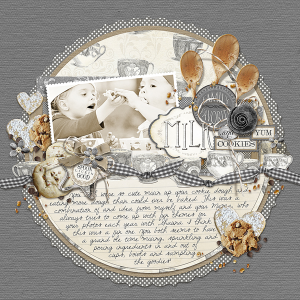 �Milk & Cookies� layout by Brandy Murry. See below for links to all products used in this digital scrapbooking layout.