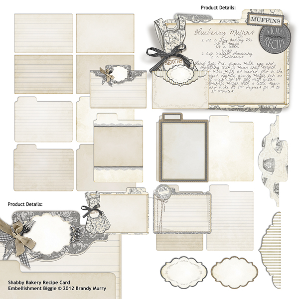 "Also Available: <a href=""http://store.scrapgirls.com/product/25490/"">Shabby Bakery Recipe Cards Embellishment Biggie</a> (Sold Separately)"