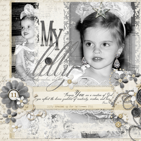Beauty layout by Brandy Murry. See below for links to all products used in this digital scrapbooking layout.