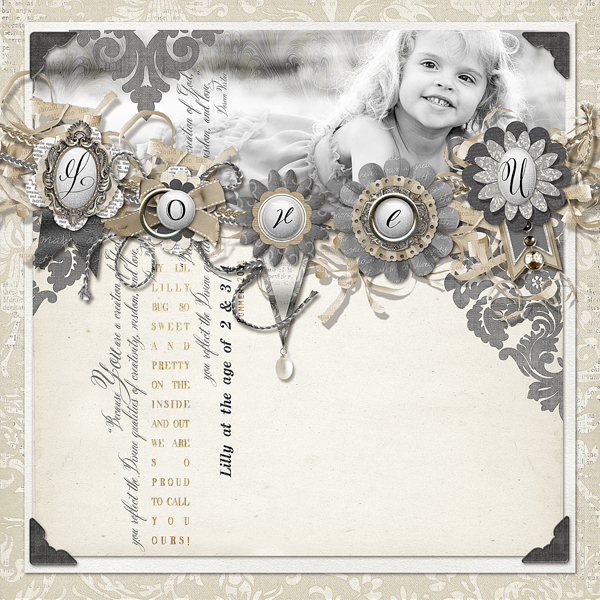 """"""" Two & Three Quarters"""" layout by Brandy Murry. See below for links to all products used in this digital scrapbooking layout."""