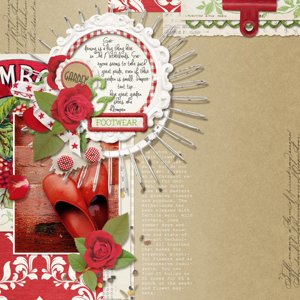 """Footwear"" digital scrapbooking layout by Brandy Murry"