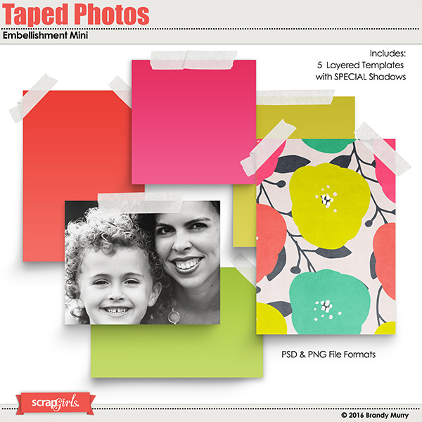 Taped Photos Embellishment Mini