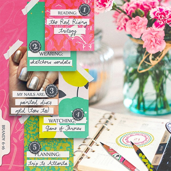 Currently digital scrapbooking layout by Brandy Murry
