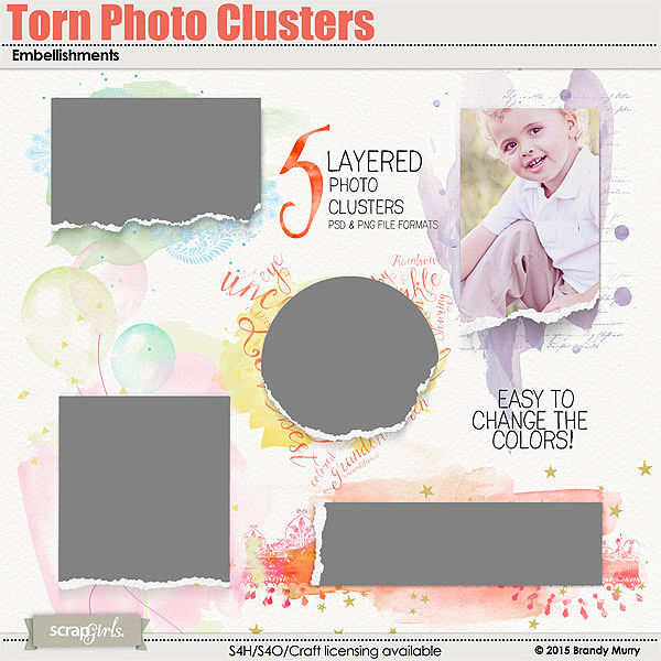 Torn Photo Clusters Embellishments