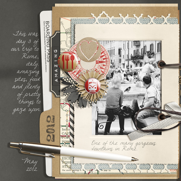 """Travel Journal"" digital scrapbooking layout by Brandy Murry"