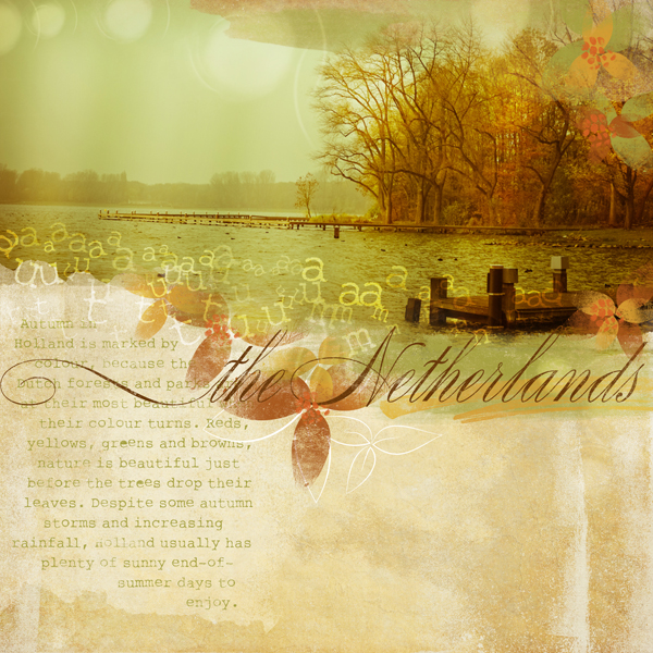 """""""Autumn in the Netherlands"""" digital scrapbooking layout by Brandy Murry."""