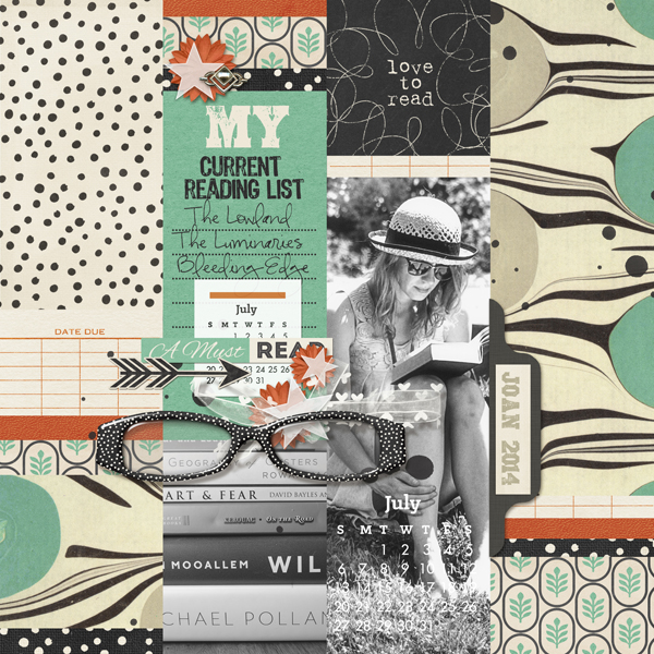 """""""My Current Reading List"""" digital scrapbooking reading layout by Brandy Murry"""