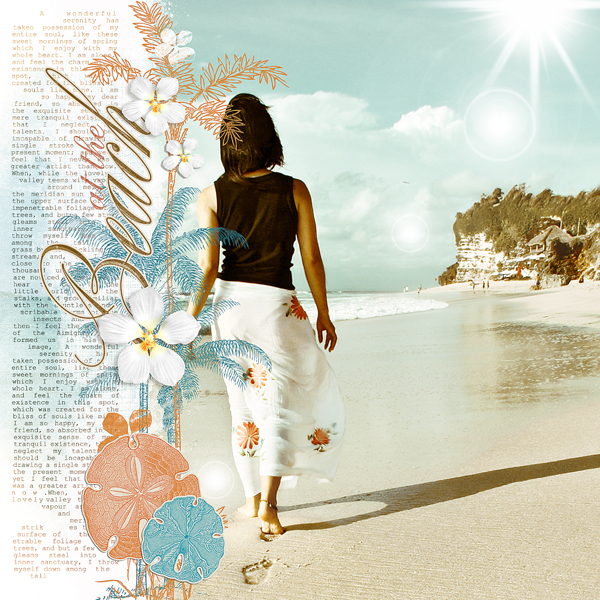 At The Beach by Brandy Murry. See below for links to all products used in this digital scrapbooking layout.