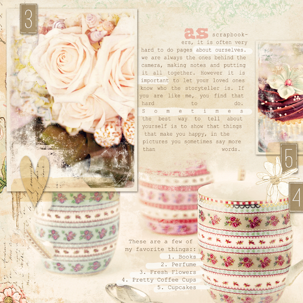"""5 Beautiful Things"" digital scrapbooking layout by Brandy Murry. See below the double page spread."