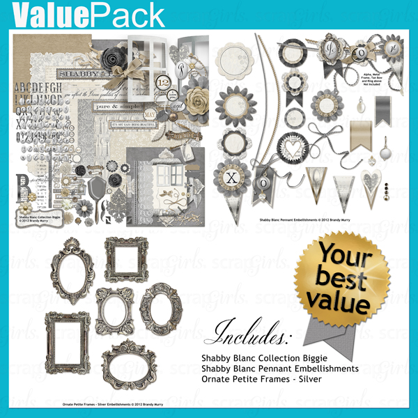 "Also Available: <a href=""http://store.scrapgirls.com/product/25414/"">Value Pack: Shabby Blanc</a> (Sold Separately)"