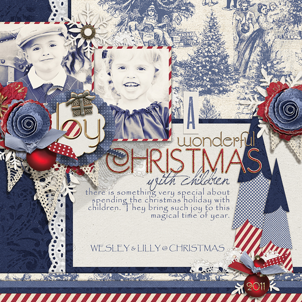 """Christmas with Children"" digital scrapbooking layout by Brandy Murry. See below for links to all products used in this digital scrapbooking layout."