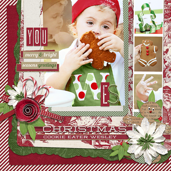"""Christmas Cookie Eater"" digital scrapbooking layout by Brandy Murry. See below for links to all products used in this digital scrapbooking layout."