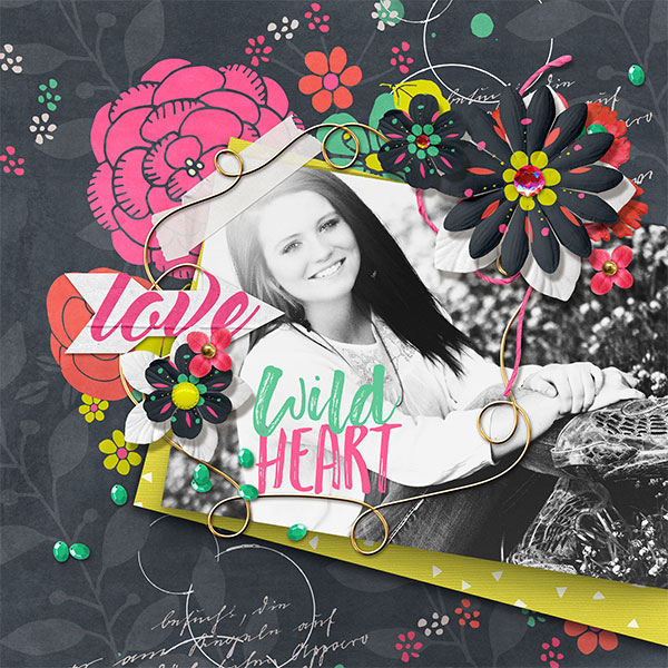 Wild Heart digital scrapbooking layout by Brandy Murry
