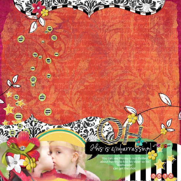 Embarrassing layout by Brandy Murry. See below for links to all products used in this digital scrapbooking layout.
