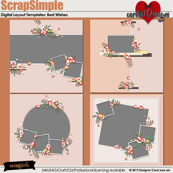 ScrapSimple Digital Layout Templates:Best Wishes