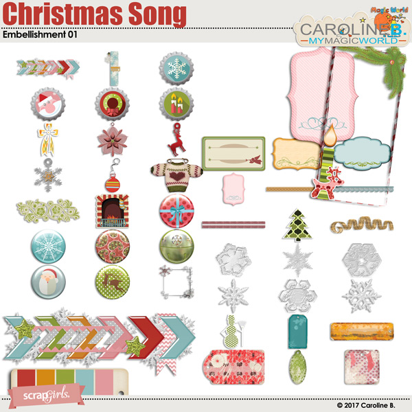 Christmas Song Embellishment 01 by Caroline B.
