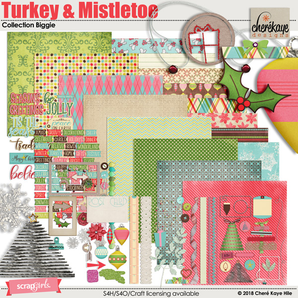 Turkey & Mistletoe Collection Biggie by Cheré Kaye Designs
