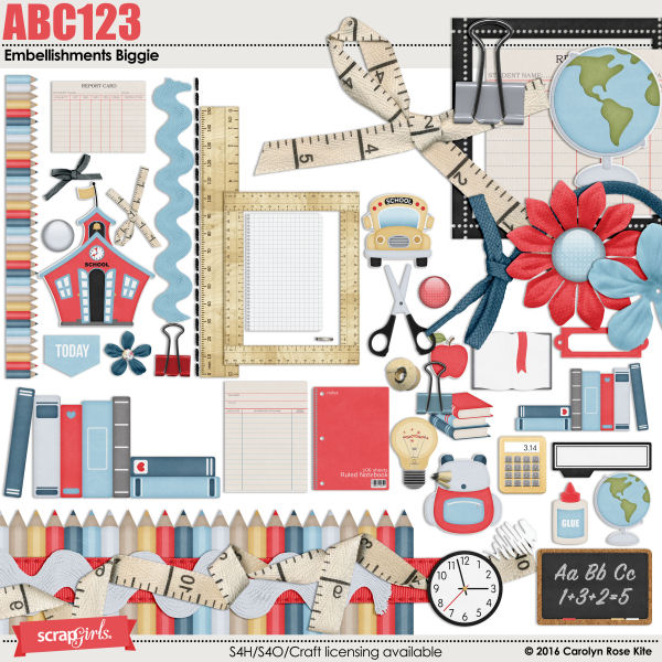 ABC123 Embellishments Biggie by Carolyn Rose Kite